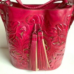 Patricia Nash Red leather bucket bag